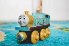 Wooden toy locomotive Stock Images