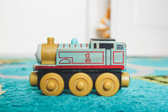 Wooden toy locomotive Stock Image