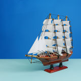 Wooden toy model of sailing vessel (#2) Royalty Free Stock Image