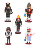 Wooden toy nutcracker workers. Five colorful wooden toy nutcracker figurines dressed as workers Royalty Free Stock Photography
