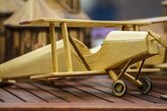 Wooden toy plane Stock Photo