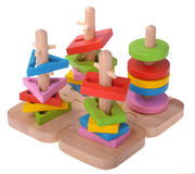Wooden toy puzzle colorful blocks Stock Photo