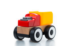 wooden toy race car on white background Stock Images