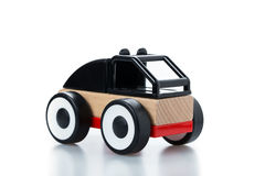 wooden toy race car on white background Royalty Free Stock Image