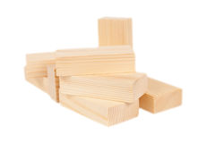 Wooden toy rectangle blocks isolated Royalty Free Stock Photography