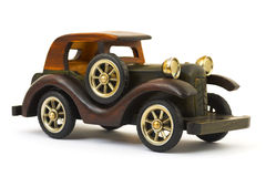 Wooden toy retro car Royalty Free Stock Photos