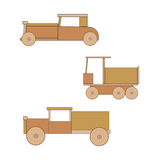 Wooden toy retro car. Royalty Free Stock Images