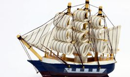 Wooden toy sailboat Stock Images