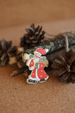 Wooden toy Santa Stock Images