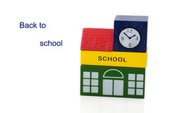 Wooden toy school building Stock Photos