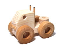 Wooden Toy Semi. Isolation royalty free stock photos