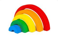 Wooden toy  rainbow Stock Images