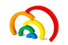 Wooden toy  rainbow Stock Photos