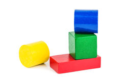 Wooden toy shapes Royalty Free Stock Images