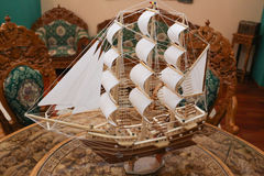 Wooden toy ship. Stock Photo