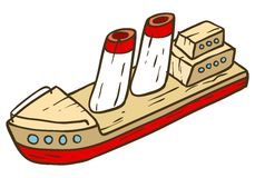 Wooden Toy Ship. Vector illustration isolated on white background Royalty Free Stock Image