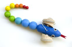 Wooden toy snake Royalty Free Stock Images