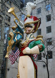 Wooden toy soldier bugler Christmas decoration at the Rockefeller Center in Midtown Manhattan Royalty Free Stock Image
