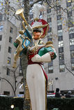 Wooden toy soldier bugler Christmas decoration at the Rockefeller Center in Midtown Manhattan Royalty Free Stock Photos