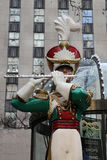 Wooden toy soldier flute player Christmas decoration at the Rockefeller Center in Midtown Manhattan Stock Images