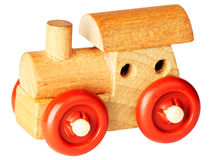 Wooden toy steam-engine Stock Image