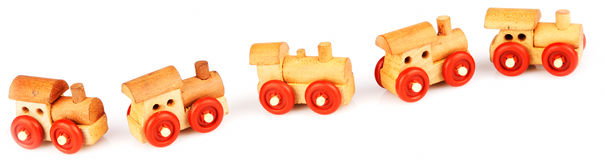 Wooden toy steam-engines Stock Image