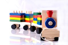 Wooden toy, steam locomotive Stock Photo