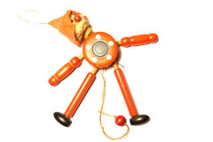 Wooden Toy Strong Pull Clown. On white background stock images