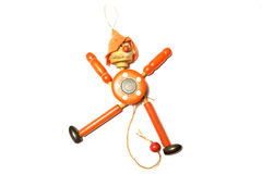 Wooden Toy Strong Pull Clown. On white background royalty free stock photography
