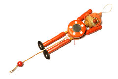 Wooden Toy Strong Pull Clown. On white background stock photography