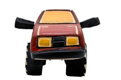 Wooden toy SUV Royalty Free Stock Photo