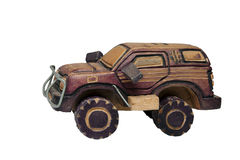 Wooden toy SUV Royalty Free Stock Image