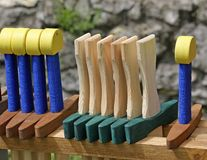 Wooden toy swords for sale Stock Image