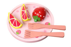 Wooden Toy Tableware and Fruits Stock Image