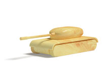 Wooden Toy Tank Stock Photo