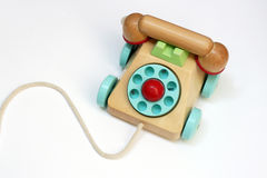 Wooden toy telephone royalty free stock photo