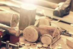 Wooden toy tractor machine detail DIY, carpenter tool Royalty Free Stock Photo