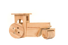 Wooden toy tractor Royalty Free Stock Photos