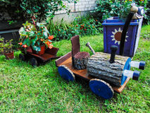 Wooden toy tractor Royalty Free Stock Image