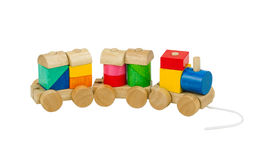 Wooden toy train. Colorful toy train for children Royalty Free Stock Photos