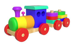 Wooden Toy Train. 3D rendered Wooden Toy Train on white background Stock Photography