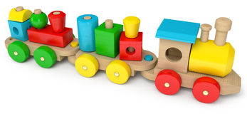 Wooden toy train. On a white background, 3d render Stock Photos