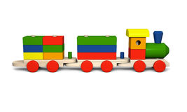 Wooden toy train. 3D illustration of colorful wooden toy train Stock Photo