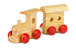 Wooden toy train. Isolated on white stock photo