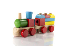 Wooden toy train. Toy train made from wood with colorful blocs royalty free stock photography
