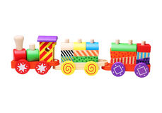 Wooden toy train for children. Isolated on white background Royalty Free Stock Photo