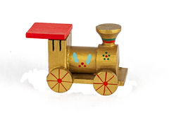 Wooden toy train Christmas decoration, isolated on white backgro Royalty Free Stock Photo