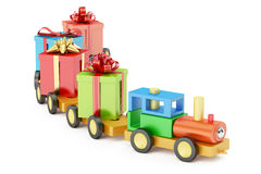 Wooden toy train with colored gift boxes concept, 3D rendering Royalty Free Stock Image