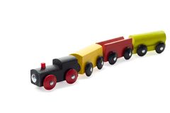 Wooden Toy Train. Wooden Colored Toy Train. Isolated Stock Photography