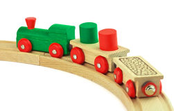 Wooden toy train. Wooden toy colored train isolated on white background Stock Images